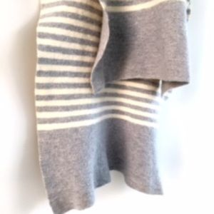 j.crew Wool Scarf in Dove Grey & Cream Stripe
